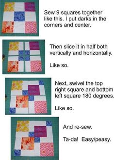 Four Patch Quilts Patterns 4 Patch Quilt Ideas Twist And Turn Four Patch Quilt Pattern Free Disappearing Nine Patch Tutorial - co-nnect.Mockingbird Bay Resort on Norfork Lake ArkansasEasy 4 Patch Quilt Patterns 9 Patch Quilt Patterns For Beginners Free Fo Quilting Tips, Quilting Tutorials, Quilting Projects, Quilting Designs, Sewing Projects, Machine Quilting, Scrappy Quilts, Easy Quilts, Patchwork Quilting