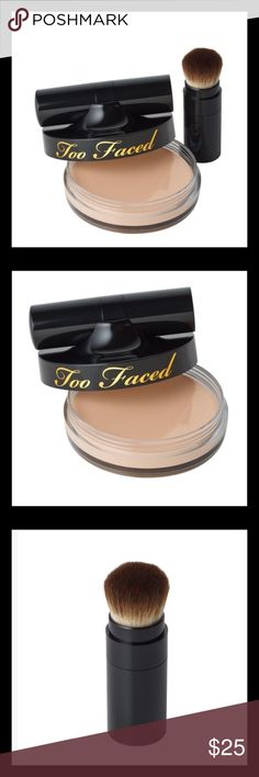 """Two Faced Air-Buffed BB Cream in Nude Glow This Cream-to-powder formula provides coverage with the benefits of a beauty balm. The air-buffed cream primes, mattifies, brightens and protects against UV damage. The accompanying Air-buff brush is made with Too Faced's exclusive, cruelty free """"Teddy Bear Hair"""" is designed to blend to a perfect, pore less finish. Too Faced Makeup Foundation"""