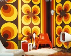 ABSOLUTE REAL RETRO Fleece Wallpaper 60s 70s brown 7013-12 orange yellow