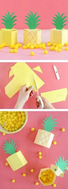origami boite, forme ananas à créer à partir d un patron boite en papier, exemple boite de rangement carton