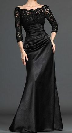 So Gorgeous! Love Love LOVE this Dress! Black Lace Panel Three Quarter Sleeve Maxi Dress #Elegant #Black #Lace #Holiday #Maxi #Party #Dress