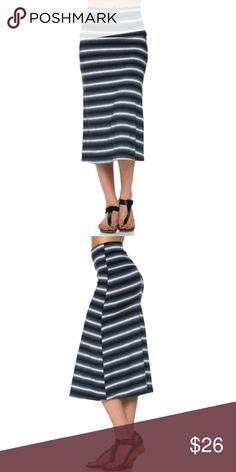 Striped midi skirt This soft stretchy A-line skirt hits below the knees and has a cute gradient black/gray/white striped pattern. Runs small. Skirts Midi