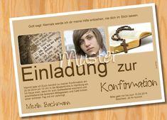 10 Foto Einladungskarten Konfirmation Kommunion  von Ausgefallene Fotokarten auf DaWanda.com