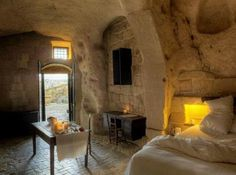 Rustic Cave Hotel in Citiva, Italy. What a romantic place to revive body & soul.