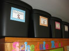 Make Monthly Labels to store classroom materials. LOVE this organizational idea!!!