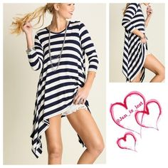 Striped Top Small What a great casual look... Throw on shorts or capris and have an outfit that will last through the summer.  Makes me want to grab a bite by the beach! Loose fitting striped top.  Cotton blend. Color is Navy and white.  Woman's size. ❌No Trades ❌ Price is firm unless bundled. . Happy Poshing! Tops Tunics