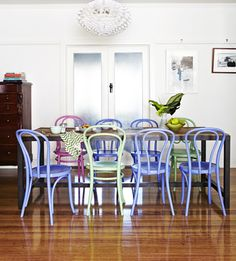 different colour bentwood chairs