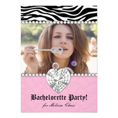 Bachelorette Party Zebra Pearls n Lace Heart Pink Invitations $2.45 Back to School.