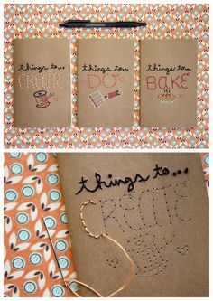 diychristmascrafts: DIY Easy Embroidered Journal Tutorial from Mollie Makes. Book Cover Design, Book Design, Diy Embroidered Notebook, Diy Notebook Cover, Diy Broderie, Mollie Makes, Diy School Supplies, Paper Embroidery, Diy Tumblr