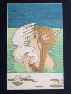 £88.00  Raphael KIRCHNER postcard - Leda & the Swan card VII in Collectables, Postcards, Artist Signed | eBay