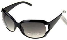 Nine West Cat Eye Sunglasses Black 100% UV Protection Plastic Large 63-17-130
