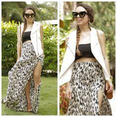 Dana Maxx Maxi Skirt, Forever 21 Crop Top, H Vest, Alexandra Beth Earrings, Jessica Simpson Shoes