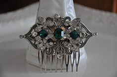 Bridal Hair Comb,Victorian Style Hair Comb,Vintage Style Hair Comb,Swarovski Crystal EMERALD GREEN Hair Comb,Antique Silver,MARCY