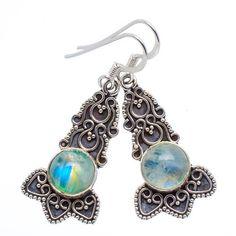 "NEW! Green ""Eye Candy"" Rainbow Moonstone Sterling Silver Earrings  #15-59 by WhereDidYouBuyIt on Etsy"
