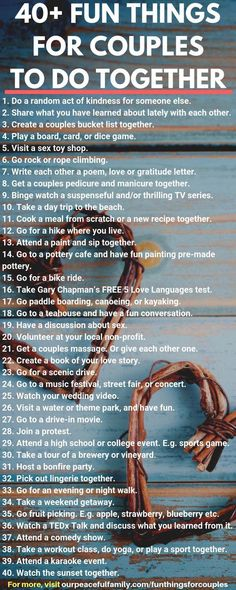 Fun Things for Couples to Do Together ( Exciting at home activities, romantic date ideas, and more) Fun Things for Couples to Do Together - Discover exciting things to do as a couple today. Includes engaging and romantic date ideas for all year round,