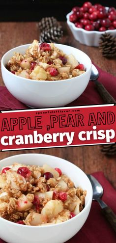 A great addition to your fall menu ideas! This Apple Pear and Cranberry Crisp is an improved version of the classic apple crisp. It has a unique and tart flavor, with a subtle hint of sweetness. Its the perfect dessert this fall season. Save this pin for later! Great Desserts, Delicious Desserts, Yummy Food, Fall Recipes, Dinner Recipes, Dessert Recipes, Healthy Recipes, Pinterest Recipes, Holiday Baking