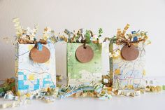 Three Mini Map Gift Bags with Shred and Tags - Perfect for Gift Cards / Party Favors - Recycled Eco Friendly. $12.00, via Etsy.
