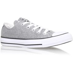 Ct Sparkleknit Low Converse Silver ($71) ❤ liked on Polyvore featuring shoes, silver, silver flat shoes, low shoes, fleece-lined shoes, converse shoes and flat shoes