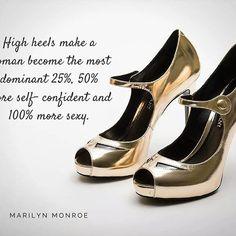 I tacchi alti fanno diventare una donna il 25% più dominante, il 50% più sicura di se stessa e il 100% più sexy.  High heels make a woman become the most dominant 25%, 50% more self- confident and 100% more sexy.  Marilyn Monroe  #gold #fashion #shoes #befab #glamour #glamstyle #fashiongram #style #golden #shop #fashion #style #stylish  #beauty #instafashion #pretty #girly #girl #girls #shoes #heels #styles #shopping