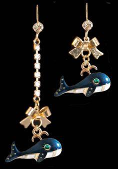Blue Whale Dangle Earrings