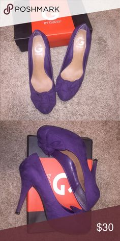 "💜Guess Suede Bow Pumps 💜Guess Suede Bow Pumps. Great  used condition.  Very comfortable. Choose a pump that will tie your look together. The G BY GUESS Jaslene is completed with a bow and has a hidden platform for that extra kick. | Faux suede upper | Knotted bow detail on round toe | Hidden platform | 1"" platform, 4"" covered heel 