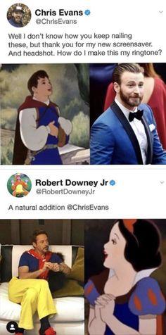 It's great how Chris gets to be a boy and Robert D J is a girl Marvel Universe, Marvel Jokes, Avengers Memes, Marvel Actors, Disney Marvel, Marvel Funny, Marvel Avengers, Marvel Comics, Captain Marvel