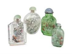 FOUR CHINESE INSIDE-PAINTED GLASS SNUFF BOTTLES, | 20TH CENTURY ...