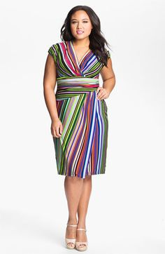 Suzi Chin for Maggy Boutique Stripe Jersey Faux Wrap Dress (Plus Size) | Nordstrom