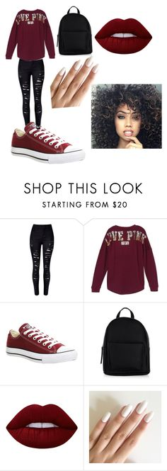 """""""Untitled #23"""" by applebottom2711 on Polyvore featuring WithChic, Victoria's Secret, Converse, New Look and Lime Crime"""