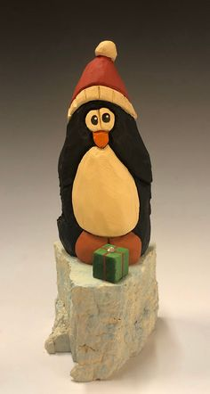 Kandy Cane Penguin Caricture,Wood Carving