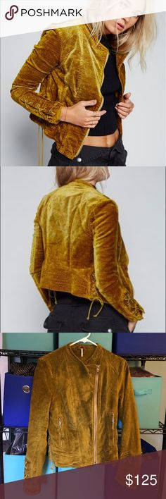 Free People velvet lace up jacket rare green color Absolutely gorgeous lace up velvet jacket from Free People! Bought this in the fall, but it's an it too big for me now. Only worn once, excellent flawless condition. Size small, has some stretch to it. This is the chartreuse color, which is a beautiful green gold. Free People Jackets & Coats
