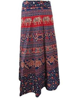 Wrap Skirt Blue Elephants Printed Cotton Wrap Around Indian Skirts Beach Cover Up
