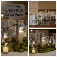 wedding lantern center piece no flowers, only candles, silver lanterns, moss, and votive candles.