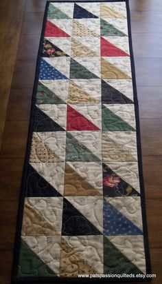 Hand Quilted Table Runners | Scrappy Quilted Table Runner Hand Quilted by TreasuredPrimitives, $74 ... Patchwork Table Runner, Table Runner Pattern, Quilted Table Runners, Hand Quilting, Machine Quilting, Crazy Quilting, Place Mats Quilted, Quilting Projects, Quilting Ideas