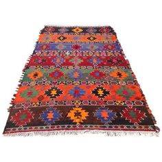 "Vintage Turkish Kilim Rug - 6'3"" X 11'2"" (3,070 CAD) ❤ liked on Polyvore featuring home, rugs, traditional handmade rugs, kilim rugs, kelim rug, anatolian kilim rug, coloured rug and hand woven area rugs"