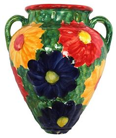 Cactus Canyon Ceramics Wall Flower Pot Hand Painted in Spain Red Design