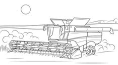 John Deere Combine coloring page from Special transport category. Select from 26768 printable crafts of cartoons nature animals Bible and many more. People Coloring Pages, Coloring Pages For Boys, Coloring Pages To Print, Free Printable Coloring Pages, Colouring Pages, Coloring Sheets, Coloring Books, Free Coloring, John Deere Combine