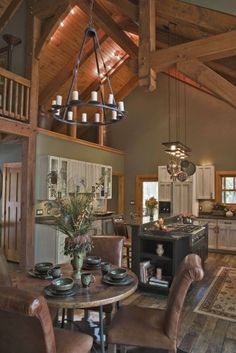 eclectic kitchen Luxury Timber Frame Mountain Home