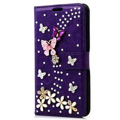 Handmade Rhinestone Bling Diamond Flip Stand PU Leather Wallet Phone Case