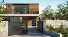 Porte d'entrée aluminium contemporaine Cotim 11 et son portail au design accordé.