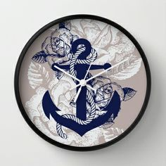 Anchor Art Wall Clock by studio VII - http://society6.com/vivinicolin/Anchor-Art_Wall-Clock#33=282&34=285