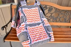 CAR SEAT COVER Rag Quilt Style Orange Gray by avisiontoremember