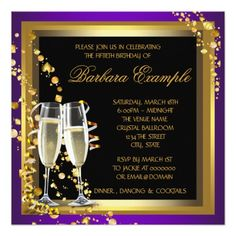 Purple and Gold 50th Birthday Party Card