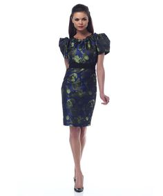 Take a look at this Blue & Green Belted Puff-Sleeve Shaper Dress on zulily today!