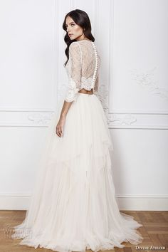 divine atelier 2016 bridal gowns three quarter sleeves illusion jewel sweetheart neckline lace crop top bohemian  tulle a line wedding dress illusion back brush train (ema) bv