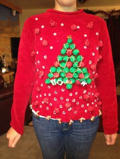 another homemade ugly sweater idea gotta keep this for the office contest needing ideas for a fun ugly christmas sweater party
