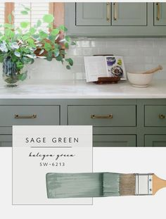 Our top color palette trends spring 2017 - sage green kitchen cabinet paint colors Green Kitchen Cabinets, Kitchen Cabinet Colors, Kitchen Redo, Kitchen Colors, New Kitchen, Oak Cabinets, Vintage Kitchen, Kitchen Country, Sage Green Kitchen
