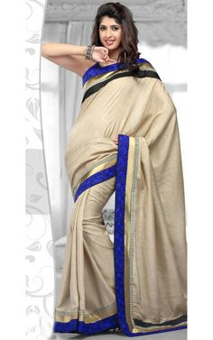 CREAM BANARASSI COTTON LATEST SAREE - RIS 1713C