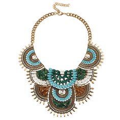 x076 Boho chain necklaces & pendants collar vintage fashion beads big chunky choker statement necklace women jewelry