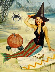 HALLOWEEN FABRIC BLOCKS PHM2 Halloween Mermaid postcard Cotton by wwwvintagemermaidcom, $7.00